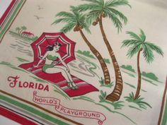 Vintage Florida tea towel  1940s flamingos and by 3floridagirls, $32.00