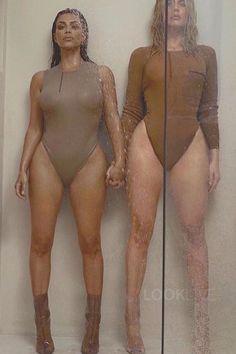 Kim Kardashian wearing  Yeezy Sleeveless Bodysuit, Yeezy PVC Ankle Boot