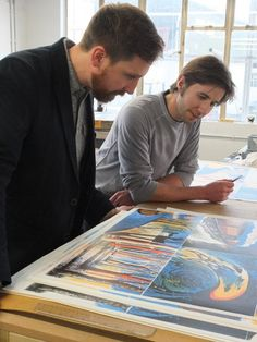 """Artist, illustrator and printmaker Ed Kluz working on his lithograph illustrations for The Folio Society's """"Rupert Brooke: Selected Poems"""" Yorkshire Towns, Rupert Brooke, English Romantic, Collage Techniques, Lino Cuts, Historical Architecture, Romanticism, Hand Coloring, Art School"""