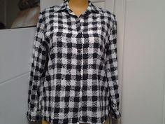 Alia Womens 12 Black White Checks Circles Long Sleeve Button Down #Alia #ButtonDownShirt