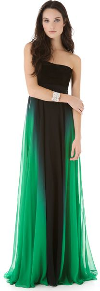 Monique Lhuillier Green Strapless Gown with Suede Bodice