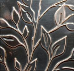 Handmade Embossed Copper Sheet Metal  leafy branch by SunStones, $14.00
