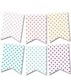 Free Printable Polka Dot Pennant Banner from printablepartydecor.com #freeprintable