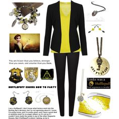 Hufflepuff Casual by laylasavage on Polyvore featuring malo, Topshop, French Connection and Converse