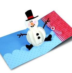 diy christmas crafts : DIY Pop-up Snowman Card from Sizzix