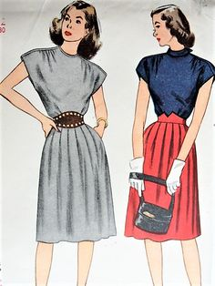 140c1a73a3 1940s Vintage CHIC Two Piece Dress Simplicity 1546 Sewing Pattern Bust 30