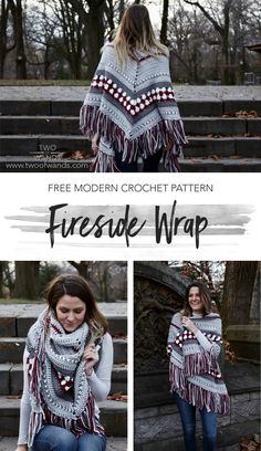 Fireside Wrap — Two of Wands - Hooked! - Fireside Wrap — Two of Wands Fireside Wrap pattern by Two of Wands Moda Crochet, Pull Crochet, Crochet Wrap Pattern, Modern Crochet Patterns, Free Crochet, Knit Crochet, Crochet Baby, Poncho Au Crochet, Crochet Shawls And Wraps