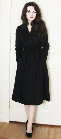 Mystery Black Wool-blend Belted Coat