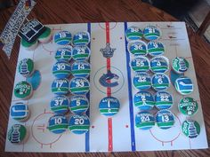 Perfect for a kids Vancouver Canucks themed birthday party. Go Canucks! Hockey Birthday Parties, Hockey Party, Sons Birthday, Birthday Treats, Birthday Party Themes, Sports Party, Birthday Cakes, Hockey Cupcakes, Cupcakes For Boys