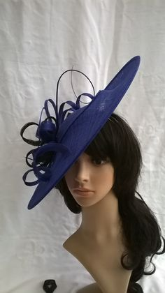Sapphire Blue Fascinator..Stunning Sinamay Fascinator Hat on a Headband..Hatinator