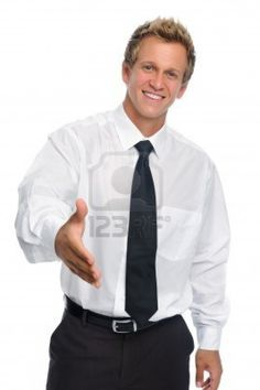 Man in business attire offers a handshake isolated on white  Stock Photo