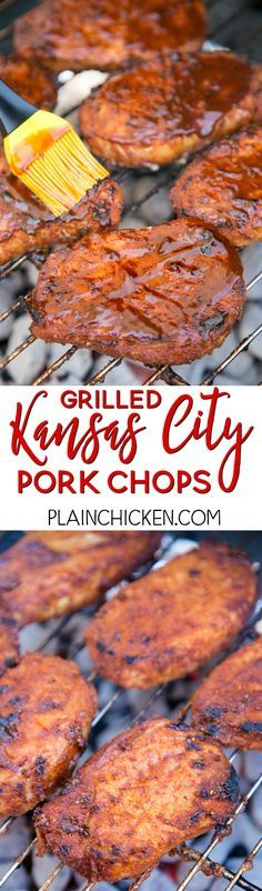 Nice Grilled Kansas City Pork Chops - THE BEST pork chops! Season pork chops with an . Grilled Kansas City Pork Chops - THE BEST pork chops! Season pork chops with an easy dry rub and refrigerate until ready to grill. Brush with your fav. Pork Chop Recipes, Grilling Recipes, Cooking Recipes, Healthy Grilling, Barbecue Recipes, Easy Grill Recipes, Summer Grill Recipes, Best Bbq Recipes, Meat Recipes