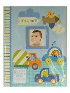 """CR Gibson Stepping Stones """"It's A Boy"""" Baby's First Memory Book - Transportation Theme New"""