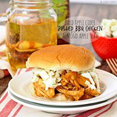 Hard apple cider pulled BBQ chicken sandwiches with almond apple slaw.