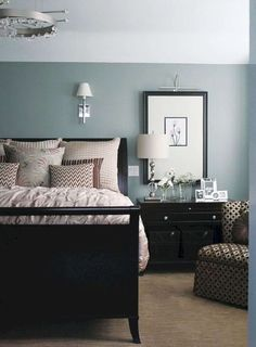 master bedroom paint colors Black furniture with walls that are blue with a green tint. This is my favorite color ever. Beach Glass, 1564 by Benjamin Moore. Muebles Color Chocolate, Benjamin Moore Beach Glass, Revere Pewter Benjamin Moore, Revere Pewter Living Room, Benjamin Moore Bedroom, Traditional Bedroom, Small Bedrooms, Master Bedrooms, Blue Bedrooms