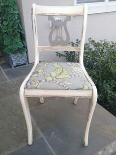 Lyre chair painted with Old White and French Linen. New upholstery.