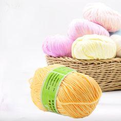 50g 1 Pc Peignée Super Doux Lisse Soie Naturelle Fiber De Laine Bébé Fil Bambou Naturel Coton À Tricoter À La Main DIY de laine