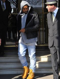 Kanye-West-wears-APC-for-Louis-Wong-fall-winter-2012-leather-motorcycle-jacket-Timberland-Boots.jpg (500×651)
