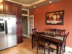 colors that go well with old brick in kitchens | Benjamin Moore Audubon Russet. This is actually my kitchen Dining Room ...