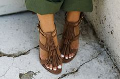 B Brian Atwood taupe fringe and brass nail heel!