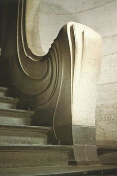 Detail of an Art Nouveau style stairwell. From an early 1980's Horta Museum postcard.