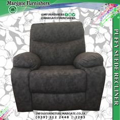 This modern recliner is not only exceptionally comfortable, but it also offers supreme quality and good looks. If you are looking for the perfect chair in which to unwind and relax in your home, look no further than this stunning puffy suede recliner.