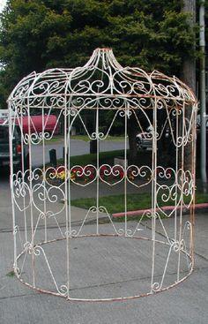 Ornate Iron Mid-Century Gazebo for Garden by VintageOfDistinction
