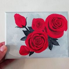 'Red Roses Posy' 🌹I love working with a minimal colour palette, the greys here really make the reds stand out! ❤️ Read about the Mini… Handmade Home Decor, Handmade Gifts, Small Rose, Mini Canvas, New Baby Gifts, Love Flowers, Art Blog, Red Roses, Something To Do