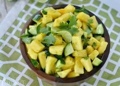 Ingredients 1 pineapple , chopped 1 English cucumber , chopped 2 limes , zested and juiced ⅓ cup cilantro , roughly chopped salt and pepper . Healthy Snacks, Healthy Eating, Healthy Recipes, Simple Recipes, Free Recipes, Lime Salad Recipes, Drink Recipes, Cilantro, Fresco
