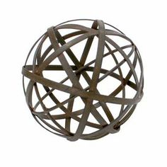 "Bring artful appeal to your living room or den with this eye-catching decor, crafted of metal and featuring an openwork design.  Product: Orb decorConstruction Material: MetalColor: BrownFeatures:  HandcraftedRust finishDimensions: 4"" Diameter"