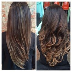 getting these. Balayage highlights. They dont go all the way to the root so they grow out more naturally and they just peek out here and there. And not bleach blonde! Just a bit lighter than the main color.