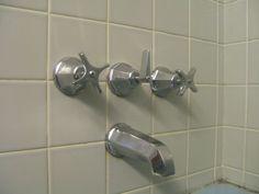 Vintage blue gray bathrooms   mid century bathroom featuring vintage decorative tiles from ...