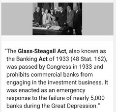 The Glass-Steagall Act aka the Banking Act of 1933 Hillary said in the last debate she is not in favor of re-instating it. Bernie Sanders supports it! Vote Bernie Sanders 2016