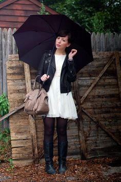 Love a leather jacket paired with a girly dress...via Keiko Lynn