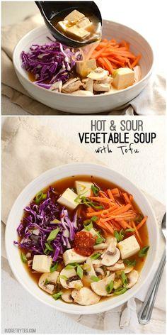 Hot & Sour Vegetable Soup with Tofu - BudgetBytes.com