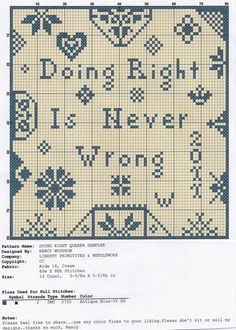 doing right is never wrong free cross stitch