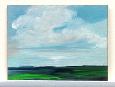 MINI 814, oil painting original landscape small, 100% charity donation, oil painting on cardboard, clouds, sky, ACEO