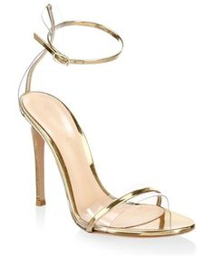 "portofino ankle-strap sandals by Gianvito Rossi. Stiletto heel, 4.13"" (105mm).Leather/PVC upper. Open toe. Adjustable ankle strap. Leather lining and sole. Made in Italy. #gianvitorossi #nudeshoes #sandals"