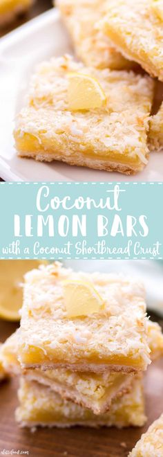 These Coconut Lemon Bars are sweet, a little tangy, and have a coconut shortbread crust. Homemade lemon bars are one of my favorite spring desserts, and these Coconut Lemon Bars are a fun twist on the classic lemon bar recipe! Easter dessert perhaps? Mini Desserts, Kokos Desserts, Desserts Ostern, Coconut Desserts, Spring Desserts, Coconut Recipes, Lemon Recipes, Easy Desserts, Dessert Recipes