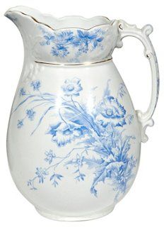 English Ironstone Blue Floral Pitcher