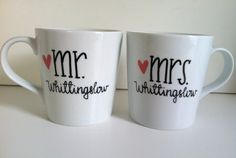 MR and MRS Mug Set...Personalized Coffee Mug-Hand Painted/Handwritten--Love, Wedding Gift