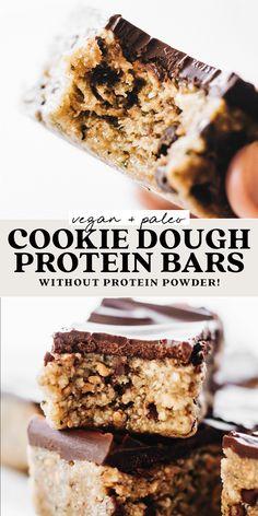 Homemade Protein Bars, No Bake Protein Bars, Vegan Protein Bars, Vegan Bar, Protein Bar Recipes, No Bake Bars, Protein Cookies, Vegan Snacks, Vegan Food