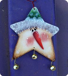 Jingle Star Snowman Ornament by CountryCharmers on Etsy, $7.50