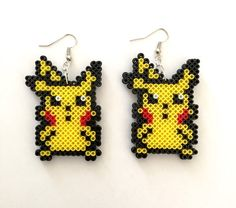 Pokemon Pikachu Perler Bead Earrings Perler by CarafirasCreations Perler Bead Templates, Pearler Bead Patterns, Perler Patterns, Pyssla Pokemon, Pokemon Perler Beads, Pokemon Pokemon, Beaded Earrings Patterns, Beading Patterns, Perler Earrings