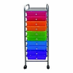 Amazon.com: Advantus 10-Drawer Rolling Organizer, 37.6 x 13 x 15.4 Inches, Multi-Colored (AVT34004): Office Products