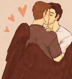 He's like, holding him with his wings its so cUuUuUTE (ಥ﹏ಥ) Supernatural Destiel, Dean And Castiel, Crowley, Destiel Fanart, Johnlock, Winchester, Kiss Day, Great Love Stories, Kawaii