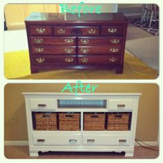 I love how this turned out!!! DIY old dresser into TV stand!!!