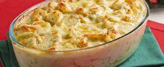 Receita de Bacalhau gratinado com queijo e batata