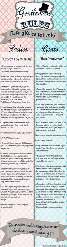 Dating Rules for our son and daughters.  Dating Rules that really everyone should live by if we want a better world for our kids.     If eve...