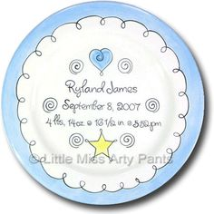 Hand painted new baby gift plate with cute pram design little miss arty pants personalized gifts sweet baby boy design birth announcement negle Images